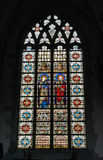 Collegiate Church Saint-Martin. AALST, BELGIUM-OCTOBER 31, 2013: Stained glass window in Collegiate Church Saint-Martin. The history of the church starts in 1480 Royalty Free Stock Image