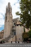 Collegiate Church of Sant Felix, as seen from the street, Girona, Spain royalty free stock images