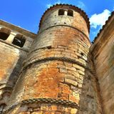 Collegiate Church of Santillana del Mar, tower. Circular tower detail at the Collegiate Church in Santillana del Mar (Cantabria, Spain Royalty Free Stock Photo