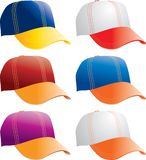 Collegiate hats. Six hats with college colors Royalty Free Stock Photos