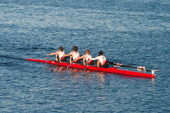 Collegiate Rowing Teams Practice On The Pacific Stock Images