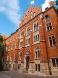 Collegium Witkowskiego of Jagiellonian University. Red brick medieval building of Collegium Witkowskiego of Jagiellonian University in Krakow,Poland Stock Image