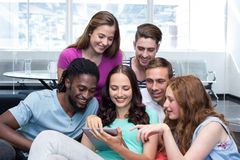 Collegue students using digital tablet. Portrait of college students using digital tablet Stock Photo