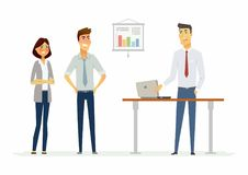 Collegues argue in the office - modern cartoon people characters illustration. With angry workers. An image of a workplace with a table, notebook, infographic Stock Image
