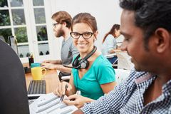 Collegues in call center. Collegues as service operators in call center Stock Image