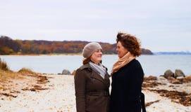Coller - mère et descendant ayant un rire Image stock