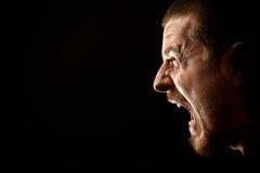 Collera - grido dell'uomo arrabbiato Fotografie Stock Libere da Diritti