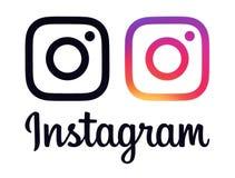 Colletion wenn Logos und Ikonen Instagram lizenzfreie abbildung