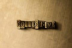 COLLETTIVO - il primo piano dell'annata grungy ha composto la parola sul contesto del metallo Immagini Stock