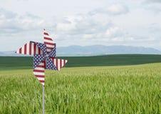 Collettore del vento di U.S.A. davanti ad erba ed al cielo Immagini Stock