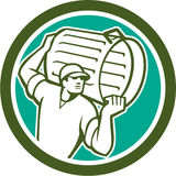Collettore di immondizia Carrying Bin Circle retro Illustrazione di Stock