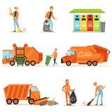 Collettore di immondizia At Work Set delle illustrazioni con il riciclaggio sorridente ed il lavoratore di raccolta residuo Fotografia Stock