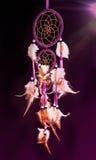Collettore di sogno alla luce porpora mistica sul nero Immagini Stock