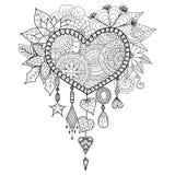 Collettore di sogno floreale di forma del cuore per il libro da colorare per l'adulto Immagine Stock