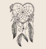 Collettore di sogno a forma di del cuore disegnato a mano Immagini Stock