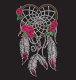 Collettore di sogno a forma di del cuore disegnato a mano nel colore pieno illustrazione di stock