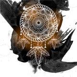 Collettore di sogno di stile di Boho con il modello floreale tribale royalty illustrazione gratis