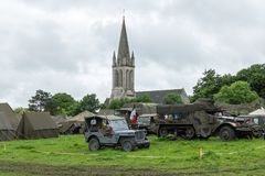 Military camp replica during D-day anniversary celebrations Royalty Free Stock Photo