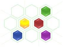 Collez l'arrangement des hexagones et des lignes pointillées Photos stock