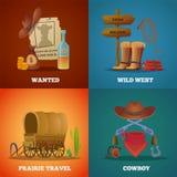 Collezioni ad ovest selvagge Simboli occidentali di vettore del salone e delle pistole del lazo del cavallo dei cowboy illustrazione di stock