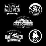 Collezioni in bianco e nero felici di progettazione di Halloween illustrazione vettoriale