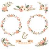 Collezioni d'annata della corona dei fiori illustrazione di stock