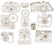 Collezioni d'annata della macchina fotografica di scarabocchio royalty illustrazione gratis