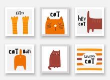 Collezioni dei gatti Carte, cartoline, etichette con i gattini, zampe, estremità, coda, fronte, elementi astratti royalty illustrazione gratis