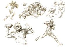 Collezioni dei giocatori di football americano Fotografie Stock Libere da Diritti