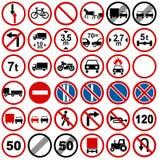 Collezioni dei segni di traffico stradale illustrazione di stock