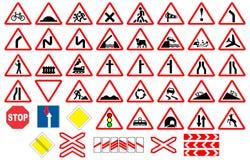 Collezioni dei segni di traffico stradale Immagine Stock