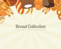 Collezioni del pane Fondo dell'alimento con le icone del pane Prodotti del forno Vettore illustrazione di stock
