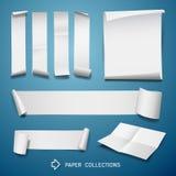 Collezioni del rotolo del Libro Bianco per progettazione di affari su fondo blu illustrazione vettoriale