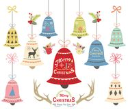 Collezioni dell'ornamento di Bell di Natale Fotografia Stock