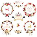 Collezioni della corona di Natale dell'oro royalty illustrazione gratis