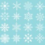 Collezioni della siluetta dei fiocchi di neve illustrazione di stock