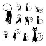 Collezioni della siluetta del gatto nero Fotografia Stock Libera da Diritti