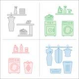 Collezioni della stanza di lavanderia di vettore illustrazione vettoriale