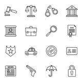 Collezioni delle icone della giustizia e di legge illustrazione vettoriale