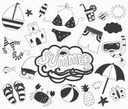 Collezioni di giorno di estate di tiraggio della mano illustrazione di stock