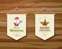 Collezioni di progettazione di massima della bandiera di Buon Natale illustrazione vettoriale