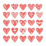 Collezioni di vettore di cuori disegnati a mano isolati su fondo trasparente Clipart di giorno di biglietti di S. Valentino di am illustrazione vettoriale