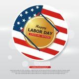 Collezioni felici dell'insegna della bandiera americana di festa del lavoro, flye di festa del lavoro illustrazione vettoriale