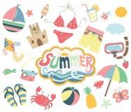 Collezioni felici di giorno di estate royalty illustrazione gratis