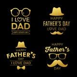 Collezioni felici di progettazione dell'oro di festa del papà illustrazione di stock