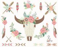 Collezioni floreali del cranio del toro illustrazione vettoriale