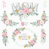 Collezioni floreali di giorno del ` s della madre illustrazione vettoriale