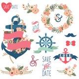 Collezioni floreali nautiche di nozze royalty illustrazione gratis