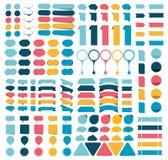 Collezioni mega di elementi piani di progettazione di infographics, bottoni, autoadesivi, carte per appunti, puntatori royalty illustrazione gratis
