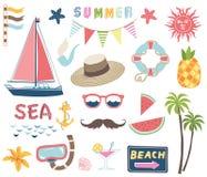Collezioni nautiche di estate illustrazione di stock